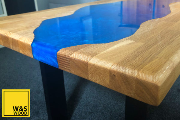 River run table with metallic resin and oak