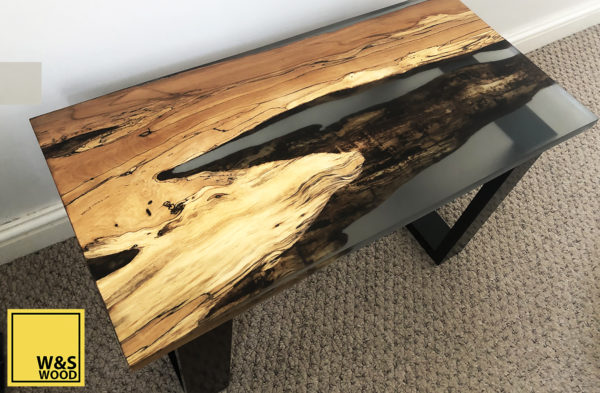 River run table created in a reusable container for resin pours