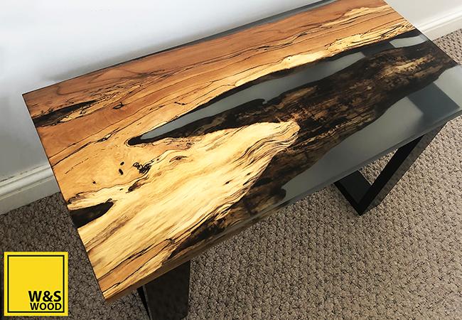 Beech river resin run table with sandbar and prussian tint