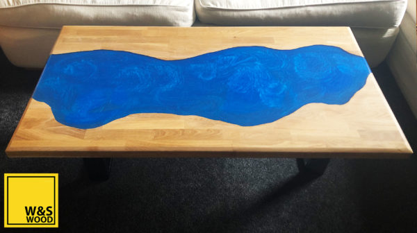 Top view of Metallic Blue river run table