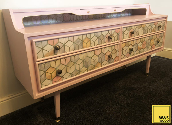 Pink geometric unit drawer side view