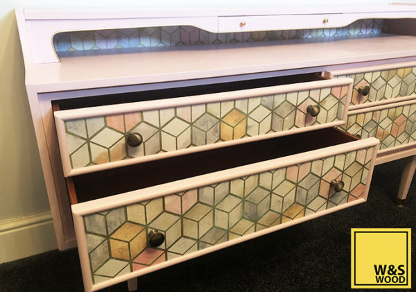 Pink geometric unit drawer drawers open