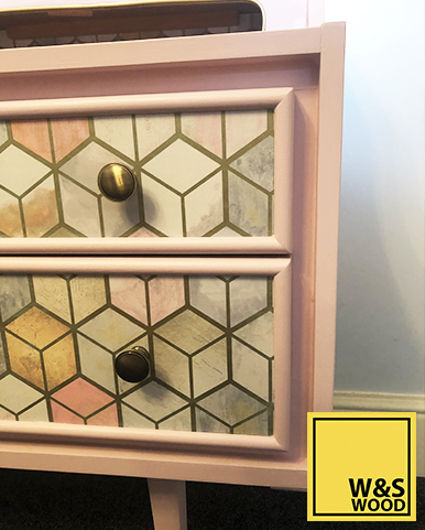 Pink geometric unit drawer side right