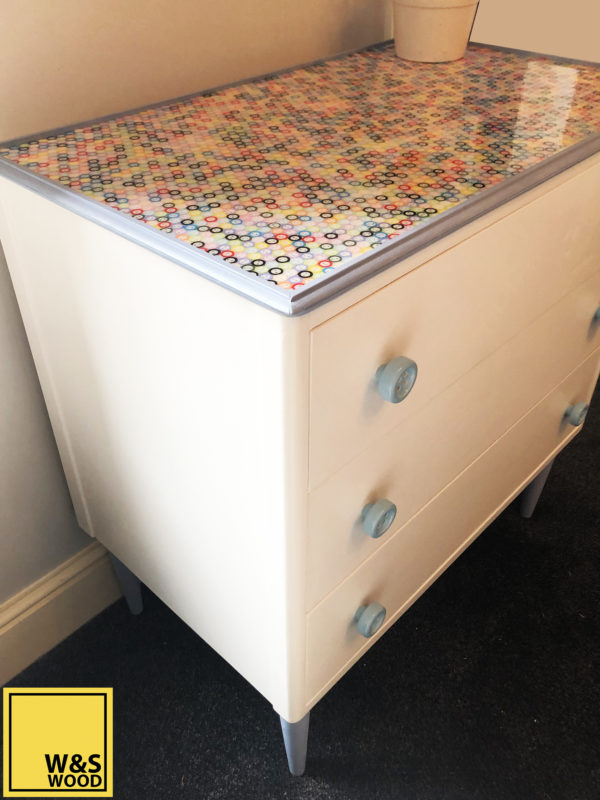 Three drawer button topped resin unit
