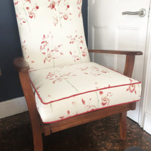 Fireside chair in Sanderson Orchid fabric