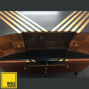 Beautility Black and Gold Striped Sideboard