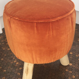 Orange Velvet three legged footstools
