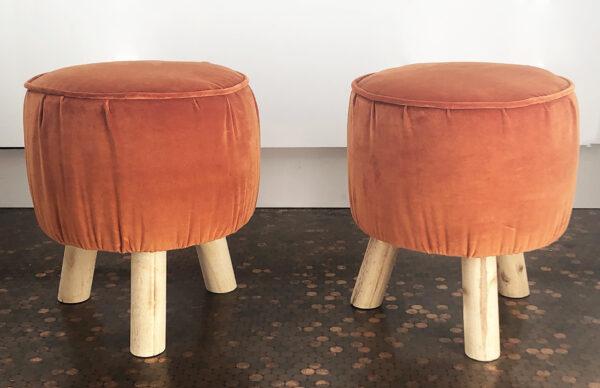 orange velvet stools